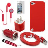 Apple iTouch 5 iPod Touch 5th Gen Red Gel Skin, USB Car Charger Plug, USB Home Charger Plug, USB 2.0 Data Cable, Metallic Stylus Pen, Stereo Headset & Screen Protector (7 Items) Retail Value: .95