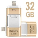 Febite iphone Flash Drive USB 3.0 with Lightning Connector External Storage Memory Expansion Memory Stick Storage for iPads,iPod,iDevice,android phones and Computers 3 in 1(Gold 32G)