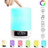 Keynice diode Bluetooth Speaker, Bedside Lamp, Touch Sensor Table Lamp, Dimmable Warm White Light & Color Changing RGB+ Multicolor Dimmable Night Light, Alarm Clock, Hands-free, Timing Function - White
