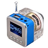 Mini Digital Portable Music MP3/4 Player TF Card USB Disk Speaker FM Radio (Blue)