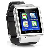 Android Ultra-SmartWatch (Black Case, Negroid Strap) : SmartWatch with Quad-Band GSM Bluetooth Cell Phone, WI-FI, Built-In GPS, Music and Video Multimedia Player, FM radio, Camera, etc (Includes 8GB Flash Micro-SD Card, and Micro/Nano-to-Mini SIM Card Adapters)