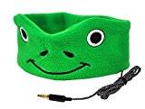 CozyPhones Kids Headphones Volume Limited with Ultra-Thin Speakers & Super Comfortable Soft Fleece Headband - Perfect Children's Earphones for Home and Travel - GREEN FROGGY