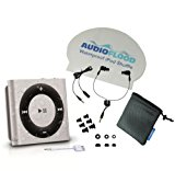 AudioFlood Waterproof Apple iPod Shuffle with True Short Cord Headphones - Silver