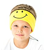 CozyPhones Kids Headphones Volume Limited with Ultra-Thin Speakers & Super Comfortable Soft Fleece Headband - Perfect Children's Earphones for Home and Travel - YELLOW SMILEY