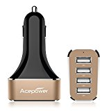 [Most Powerful Car Charger Ever] ACEPower® Intelligent 9.6A / 48W 4-Port USB Car Charger with SmartPower Technology for iPhone 6 6plus 5 5S 5C 4 4S, iPad Air 2, Samsung Galaxy S6 / S6 Edge, Nexus, HTC M9, Motorola, Nokia and solon (Black Gold)