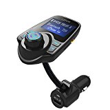 Bluetooth FM Transmitter, LeFun Wireless In-Car FM Transmitter Radio Adapter FM Modulator Bluetooth Receiver with AUX Input TF Card Slot USB Charging Port and Hands-free Calling