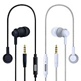 Noise Cancelling Earbuds, Costyle 2 Pack Pure Nylon Braided In-ear Noise Isolating Earphones Headphones with Mic Remote Control Button for iPhone, iPad, Samsung Galaxy Series, HTC, LG(Black, White)
