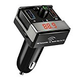 Bluetooth FM Transmitter, Wireless In-Car FM Transmitter Radio Adapter Car Kit Support SD/TF Card Music Control Free Calling USB Car Charging for iPhone,iPod,Samsung,LG,HTC,Android Smartphone MP3 MP4