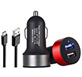 5V 3.1A Car Charger / Car Charger Kit,2 Pack Dual USB Car Charger Adapter Universal Car USB Charger 2 Port Output with 3.3FT Micro USB Cable for Galaxy S7/S6/Edge/S5,LG,HTC,iPhone,iPad,Tablet,TELE-T