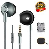 Earphones Earpods,HYDCAN Wired In-Ear Earbud Headphones with Mic 3.5mm Metal Housing Headset Compatible for iPhone,iPod,iPad,Samsung S8 Galaxy.(Gray)