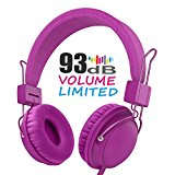 Kids Headphones,AILIHEN HD850 Volume Limiting Headphones with SharePort and Microphone for iPad iPod iPhone Tablets Laptops Android Smartphones PC Computer (Purple)