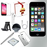 Apple iPod Touch 6th procreation Music player, 128GB -GRAY- w/ iTouch Accessory Kit includes; Bluetooth Speaker + Clear Case & Screen Protector + ipod 5-Angle Adjustable Stand + iPod Stylus Pen + Cloth