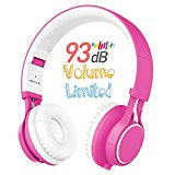 Kids Headphones, HD30 Volume Limiting Kids Headset with Microphone for Girls Boys and iPad Tablets Computer Laptops Android Smartphone (White/Pink)