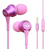 In-Ear Headphones Earbuds with Mic Controller Case, Sport Running Gym Exercise Sweatproof Music Bose Wired Earphones, For IPhone IPad Android Smartphones Mp3 Mp4 Player Tablet Kids (Pink)