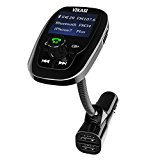 VIKASI Bluetooth FM Transmitter,Wireless Radio In-Car Transmitter Adapter Car Kit with 1.44'' Display and 2 USB Car Charger, Car MP3 Player Support Micro SD Card AUX Input(Black)