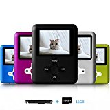 Lecmal Portable MP3/MP4 Player with 16GB Micro SD Card, Multi-functional Music Player with Mini USB Port, MP3 Voice Recorder, Media Player Best Gift for Kids-Black