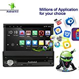 Ezonetronics Android 6.0 Quad Core Single Din 7 progress Capacitive Touch Screen High Definition 1024x600 GPS Navigation Bluetooth USB SD Player 1G DDR3 + 16G NAND Memory Flash CT0013
