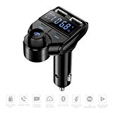 ELF Bluetooth FM Transmitter for Car Charger USB In Car Handsfree Kit MOREFINE Radio Adapter MP3 Player Music Receiver Wireless Speaker with Micro SD/TF Card AUX Input Mic. A2DP One-Key Calling Gift