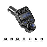 Bluetooth FM Transmitter In-Car Handsfree Kit Wireless Radio Receiver Adapter MOREFINE With Dual USB Car Charger MP3 Music Player Micro SD/TF Card AUX Input 5V 2.1A A2DP Noise Cancellation Gift