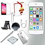 Apple ipod contact 6th procreation Music contestant 128GB - SILVER w iTouch Accessory Kit includes; Bluetooth Speaker w Clear Case & Screen Protector w ipod 5-Angle Adjustable Stand w iPod Stylus Pen w Cloth