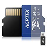 AGPTEK 64GB Class 10 Micro SD Card with Card reader, Compatible with AGPTEK Mp3 player