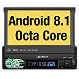 PUMPKIN Android 8.1 Car Stereo Single Din with 7 Inch Flip Out Touch Screen, Navigation, WiFi, Support Backup Camera, AUX, Android Auto, SD/USB