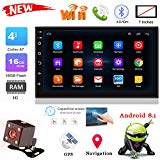 "XGao 7"" Bluetooth Car Stereo MP5 Player 1024P BT Audio Double 2 Din Touch Screen Built-in Microphone CD USB AUX Input AM/FM Radio Receiver Wireless Remote Control with Drive Record DVR (Black)"