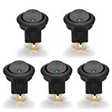 Zulmaliu 5x 16A 12V diode Dot Light Car Boat Round Rocker ON/OFF SPST Switch