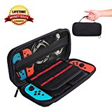 Albabara Nintendo Switch Deluxe Game Traveler Carrying Case Portable & Protective Hard Case Shell Pouch for Nintendo Switch Console & Accessories, 20 Game Card Slots Storage Case - Black