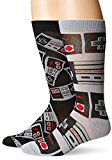 Nintendo Men's 2 Pack Crew Socks,Grey,Fits Sock Size 10-13; Fits Shoe Size 6.5-12.5