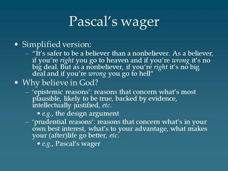 argument against pascal s wager
