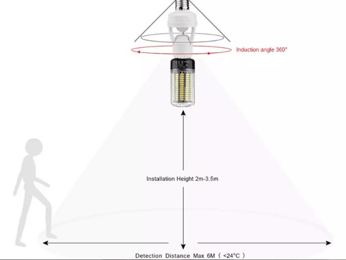 smart led lamp bulb holder with infrared pir motion senso