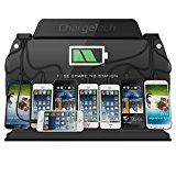 ChargeTech - Wall Mounted Cell Phone Charging Station Dock Hub w/ 8 High Speed Universal Cables for: iPhone, iPad, Samsung Galaxy, Tablets - For Events. Fully Customizable by ChargeTech (Model: WM9)
