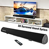 Wireless Audio Soundbar,38-Inch 80Watt Home Theater Sound Bar/Music Speaker for Streaming TVs Phones Tablets PSP PCs by Wohome(2017 Model)
