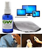 GW Magic Screen Cleaner Kit - Best For All HDTVs, 4K Ultra HD, Smart LED TV, Touch Screens, Kindle, Tablets, Laptops, Eyeglasses, Smartphones, iPhone, iPad, Samsung, LG, Sony, RCA, Panasonic, Vizio with Portable Spray Bottle and Premium Microfiber Cloths