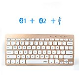 Wireless Bluetooth Keyboard for Tablet, Wired Portable Ultra thin Multi-Device Keyboards Easy Switch in 3 devices with Built-in Stand for iOS, Android, Windows, iPad, Air, Galaxy, Mobile Phone